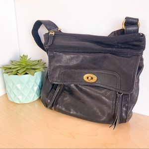 FOSSIL Black Leather Medium Sized Crossbody Bag